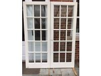 Double internal panel glazed timber doors (collection from Midhurst, W.Sussex)