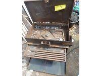 "classic heavy duty steel toolbox locking 22x17x13"" solid welded steel"