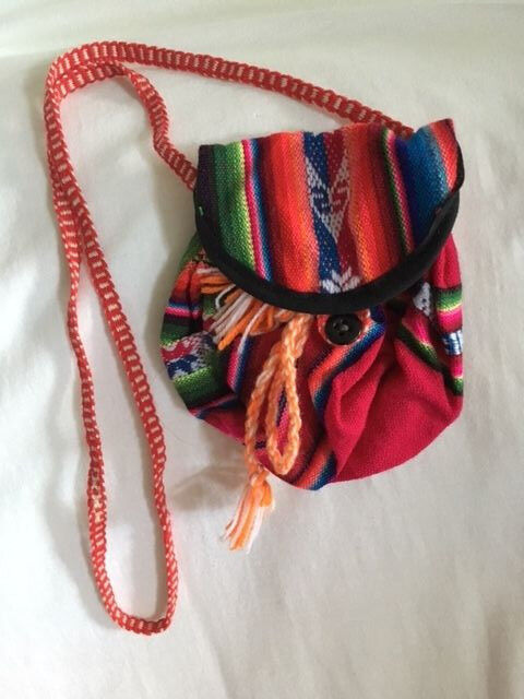 Peru Andes: Mostly red Handwoven Pouch with shoulder strap