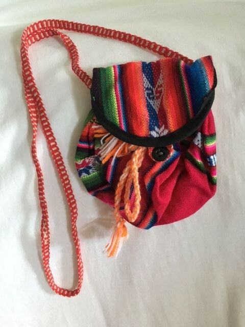 Peru High Andes: Mostly red Handwoven Pouch with shoulder strap