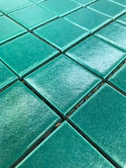 """Vintage Tile New Old Stock Bottle Green Glazed 2"""" x 2"""" Tiles"""