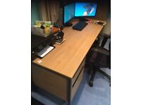 Desk and 2 free filing cabinets