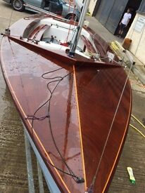Porters Wayfarer GRP Hull Nile Blue with White underside Varnished Timber Deck Officially Measured