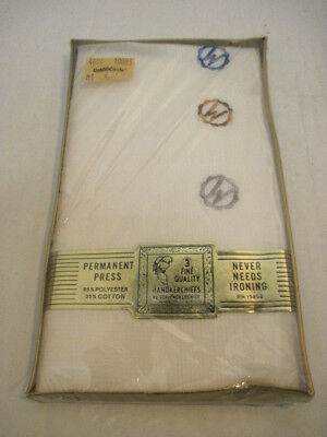 NIB 3 OLD FINE QUALITY EMBROIDERED MONOGRAM MENS HANDKERCHIEF GOLD CIRCLE STORE