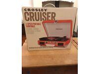 Orange Crosley Cruiser CR8005A portable record player