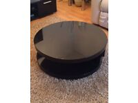 360 Rotatable Black Coffee Table circle and 2 Door TV Bench Black and two side tables