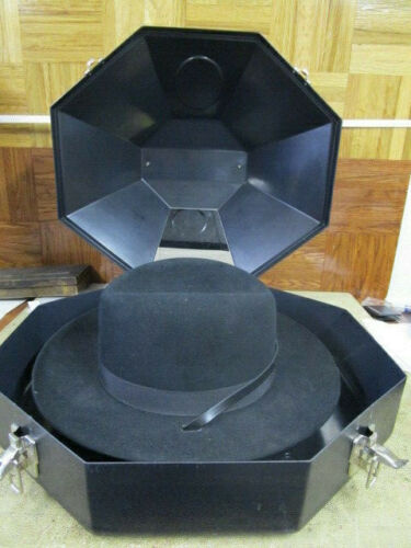 Vintage Stetson Calvary Hat Black with Rare Hat Case 7-1/4 R
