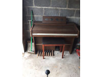 """Brown """"Church"""" style Organ with eight pedals and stool"""