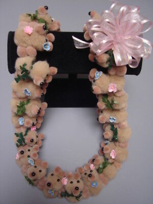 Hawaiian Beige Teddy Bear Pom Pom Lei Graduation Gift maile asst flowers (Maile Lei)