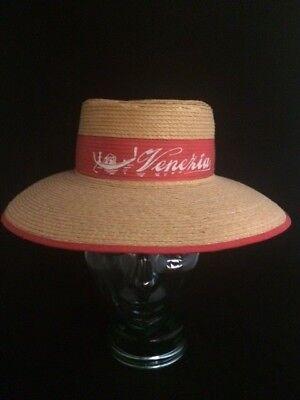 VINTAGE GONDOLIER Hat with Red Ribbon Venezia ITALIAN BOATER GRAN VOGA ITALY 56 - Gondolier Hat