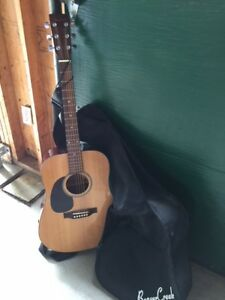 Left Handed Beaver Creek Acoustic Guitar with soft case