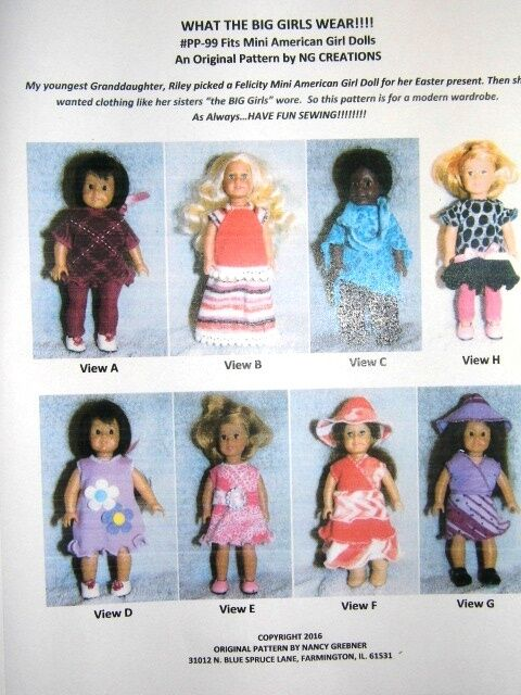 NG Creations Pattern #PP-99 Modern Outfits fit Mini American Girl Doll