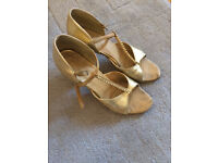Free to a good home: Supadance gold dance shoes, size 3 1/2, heel 2 1/2