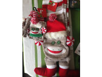 Sock monkey scarf and gloves