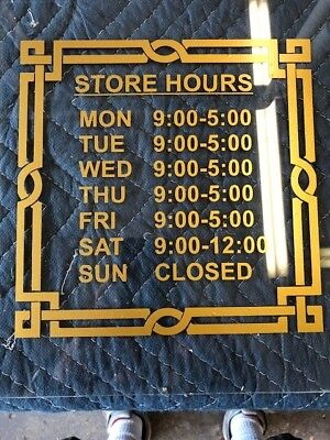 Custom Business Store Hours Vinyl Window Decal 8.5x11 Outdoor Sticker Sign Door