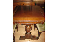 Solid oak antique table and 6 dining chairs