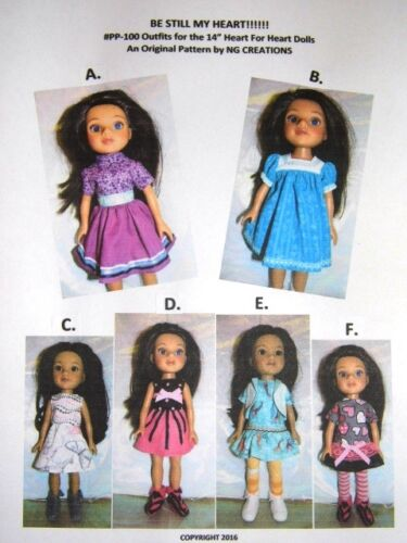 """NG Creations Sewing Pattern for Outfits & Boots fit 14"""" Heart For Heart Dolls"""