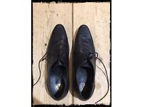 Mens Smart Black Shoes - size 7 H by Hudson Livingston Lace Gib Black Leather.