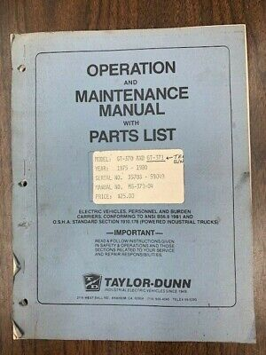 Taylor Dunn Gt370-gt371 Tee Bird Operationmaintenance Manual Parts List