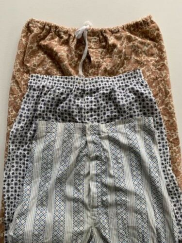 3 Pairs VNTG 1970s Pajama Pants MENS MEDIUM Fantastic Prints Cotton Flannel PJs