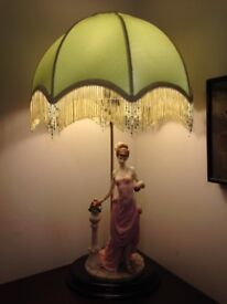 ART DECO: LAMP LADY FIGURINE With Fancy Beaded Shade - Beautiful Valentine's gift