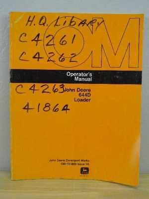Oem John Deere 644 D Front End Loader Operators Maintenance Manual Om-t81869
