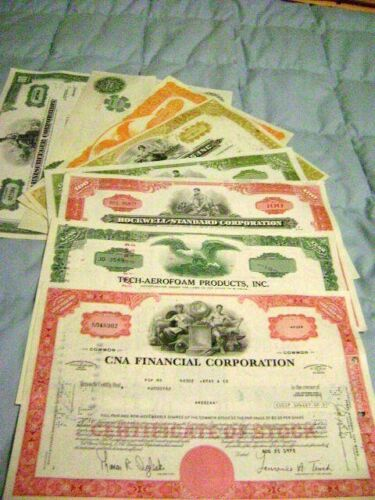Lot of 8 Stock Certificates  At least 8 different companies
