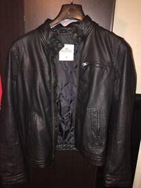 Men's black leather hollister jacket