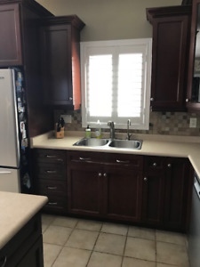 Kitchen Cabinets, island, stools, vent hood and stove for sale