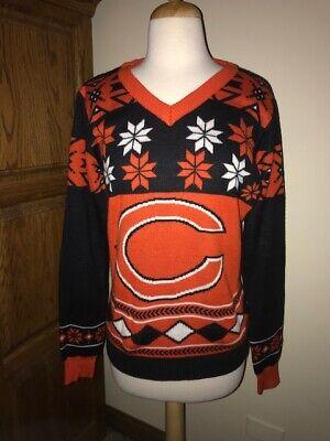 Chicago Bears NFL Women's Big Logo V-Neck Christmas Sweater LN ()