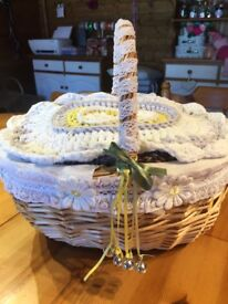 Beautiful hand decorated wicker basket