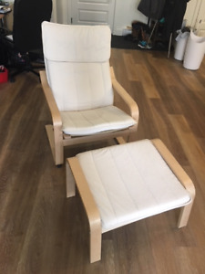 Ikea Cream Poang Chair with Foot Rest