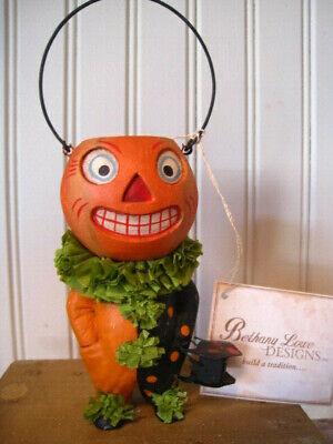 Bethany Lowe Halloween Paper Mache Container Jack O Lantern Pumpkin Bucket Head  - Halloween Pumpkin Paper Lanterns