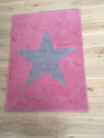 rug - John Lewis children's rug pink/grey star