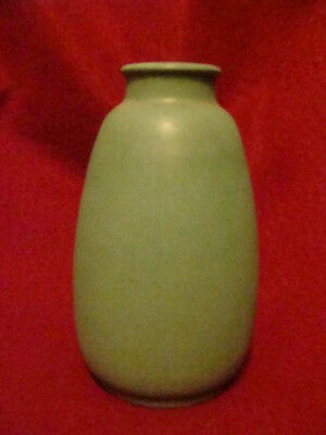 Antique Teco Vase Green Matte Arts & Crafts Era Double Stamped