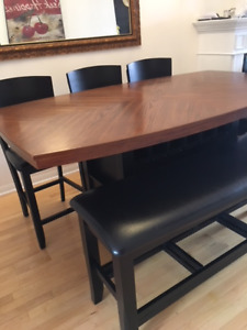 Black Dinner Table (Bench, 5 Chairs, Bar Height)