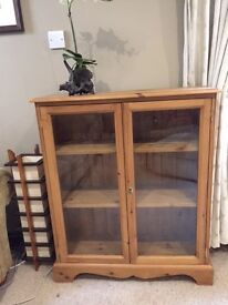 Solid Pine and glass locking cabinet