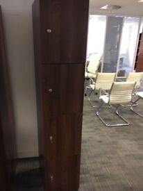 office furniture 4 door lockers in walnut