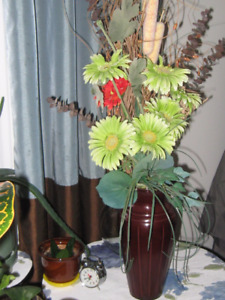 Artificial bouquet of flowers in a vase