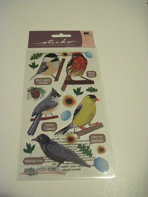 Scrapbooking Crafts Stickers Sticko Top US Birds Finch Crow Titmouse -