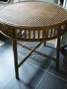 "19thC Victorian 30"" PARLOUR TABLE Wicker Seagrass SUNROOM porch"