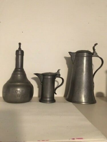 Vintage pewter container set made in France Excellent condition for its age