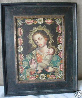 Santo Religous Carved Wood Gilded Frame w/ Madonna Cuzco Oil Painting