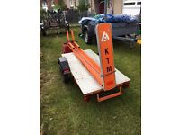 Single bike trailer in KTM style orange