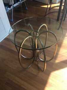 Trendy glass top coffee table!