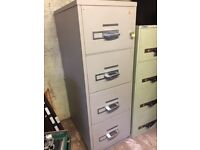 Chubb fire proof 4 drawer filing cabinet with key