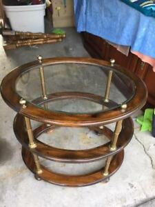 OVAL WOOD SIDE TABLE WITH GLASS