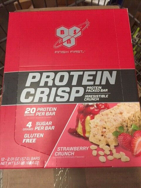 12 PACK - BSN Protein Crisp Bar, Low Sugar Whey Protein Bar,