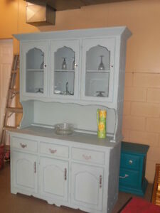 chalk painted, distressed, waxed, wood hutch, with crystal knobs London Ontario image 6