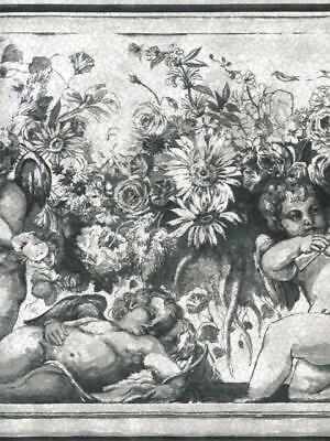 Black And White Borders (Victorian Cherubs/Angels, Flowers in Black and White  WALLPAPER)